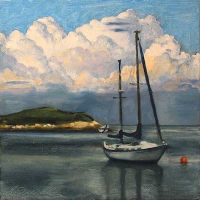 oil on canvas sail boat nova scotia
