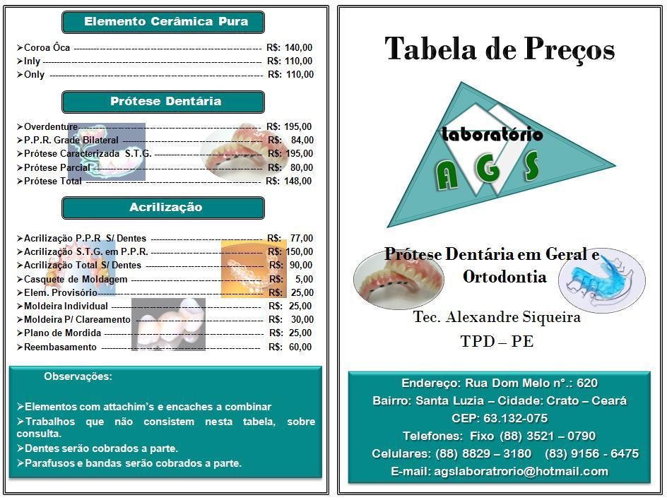 Tabela de Preços pág: 01