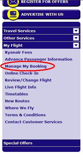 ryanair manage my booking