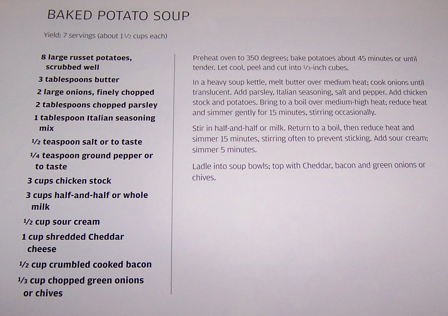 Olla Podrida Baked Potato Soup From The Magpie Cafe
