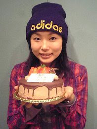 with her birthday cake in 2007