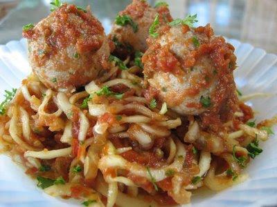 meatballs and spaghetti. Zucchini spaghetti and walnut