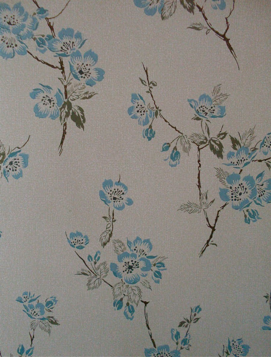 Mr  Bluehaunt  1950s Wallpaper  Blue Flowers