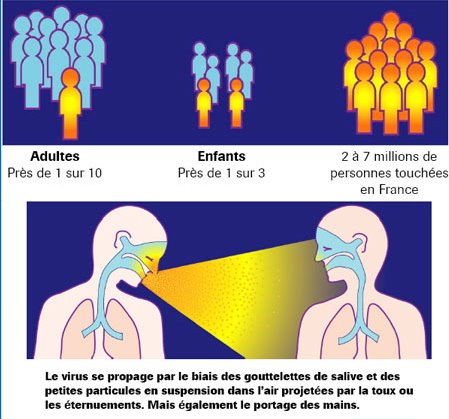 Contagiosité du virus grippal saisonnier