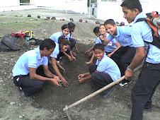 Estudiantes en labores agrícolas