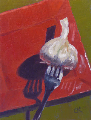 Forkful of Garlic, an original oil by Connie Kleinjans