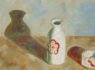 Connie Kleinjans: Original oil painting, Sake Set, 6x8