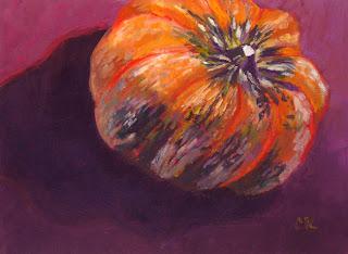 Connie Kleinjans, original oil painting, Neon Gourd,6x8