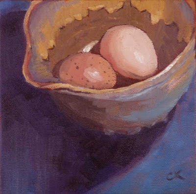 Connie Kleinjans: Cozy, 6x6 oil on wrapped canvas