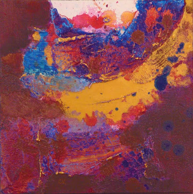 Connie Kleinjans abstract, Center of Buoyance, 8x8 acrylic and mixed media