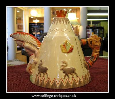 clarice cliff wigwam teapot