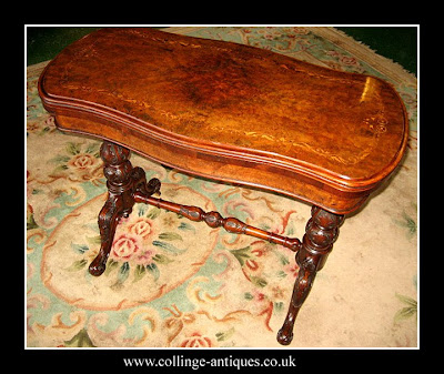 antique walnut card table