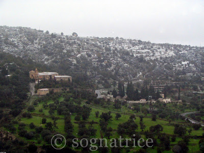 Snow on old monastery in Calabria, southern Italy