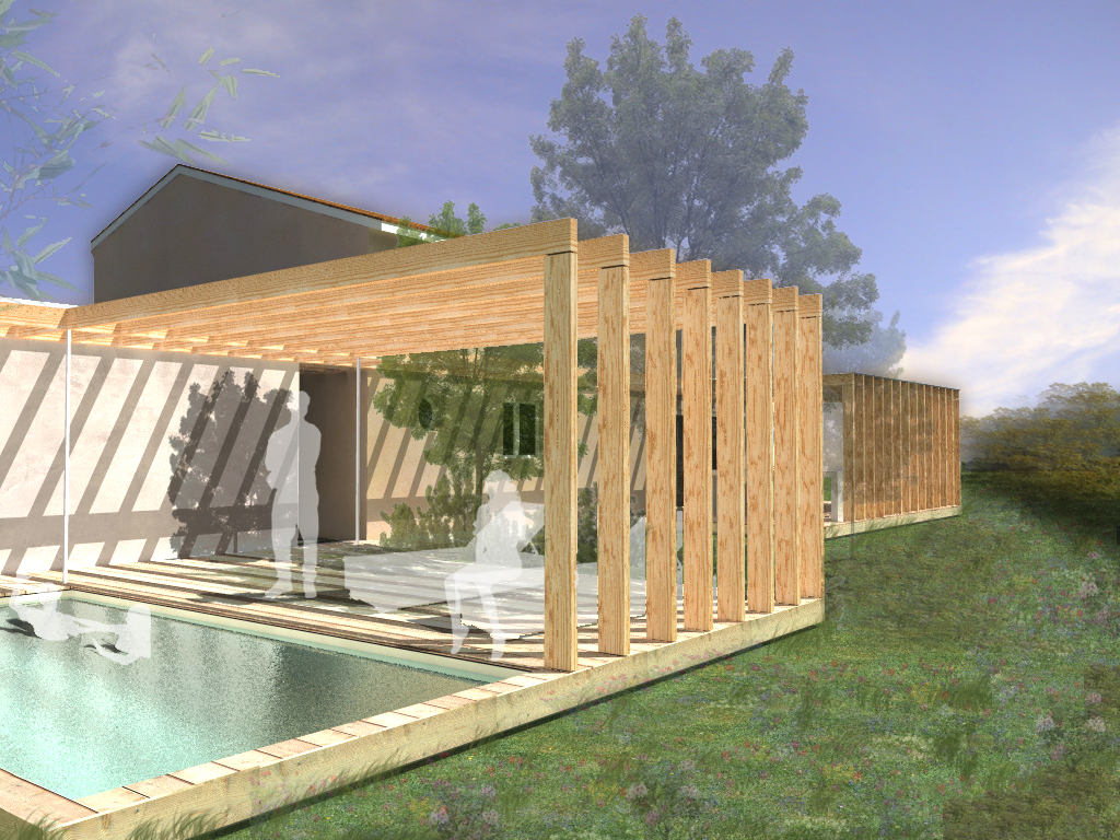 Extension et am nagement paysager ext rieur martillac for Amenagement exterieur piscine