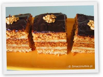 Ciasto miodowe z kaszą manną i polewą czekoladową