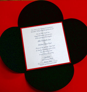Red White Wedding Invitations With Black Envelope
