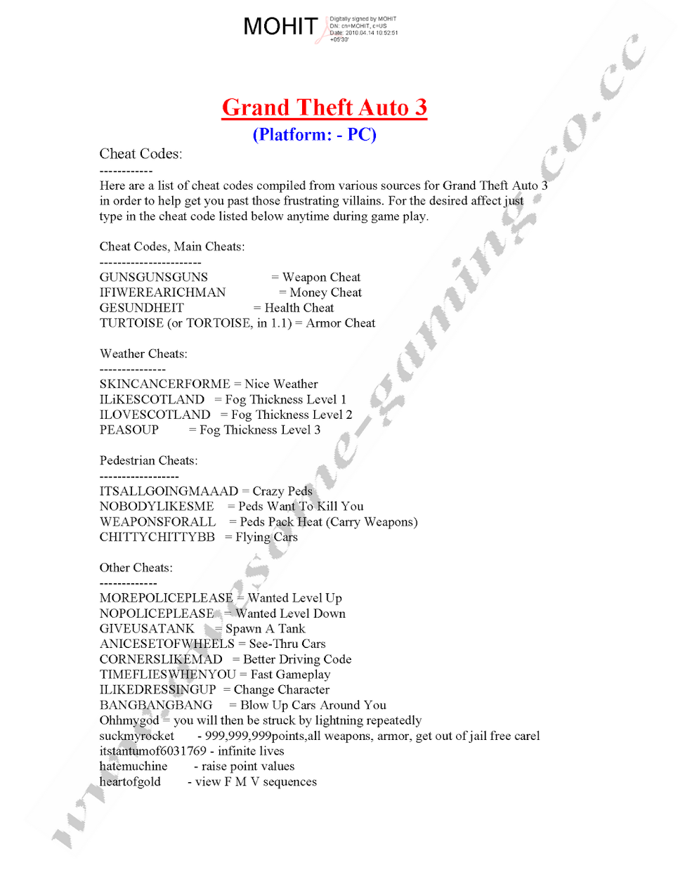 gta vice city all code pdf download
