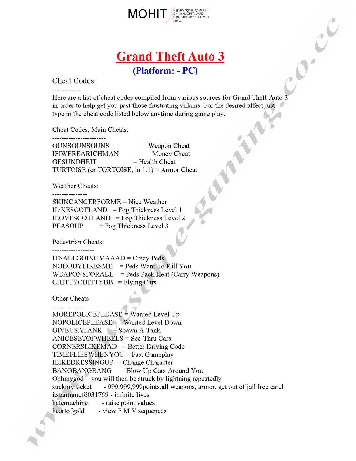 CHEAT CODE FOR GRAND THEFT AUTO 3 (PC Versioin)
