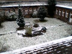 El claustro de mi cole cuando nieva en Londres