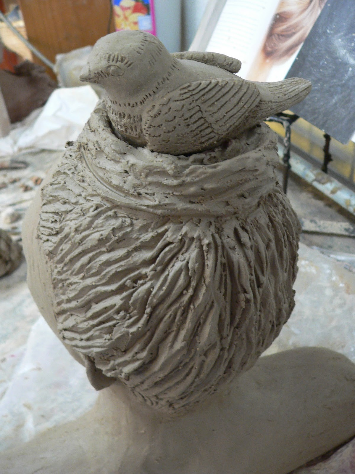 sculptures clay lady