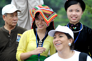 The ethnic girls are cheerful in festival