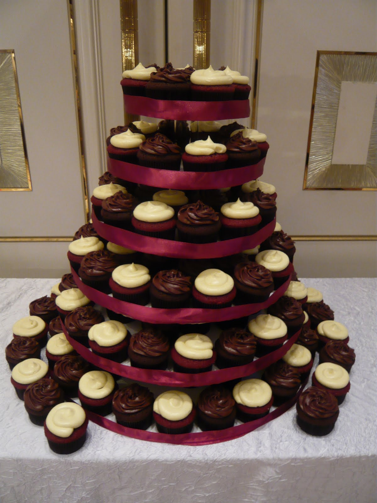 Cake Stand With Red Ribbon