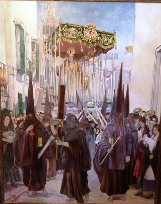 "Sevilla. Copia de cuadro de Sorolla, ""Semana Santa en Sevilla"""