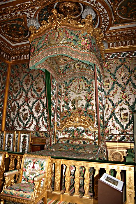 Marie Antoinette's gilt and green state bed at fontainebleau