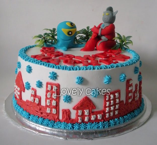 ultraman theme cake with 3d figurine chocolate cake with fresh cream ...