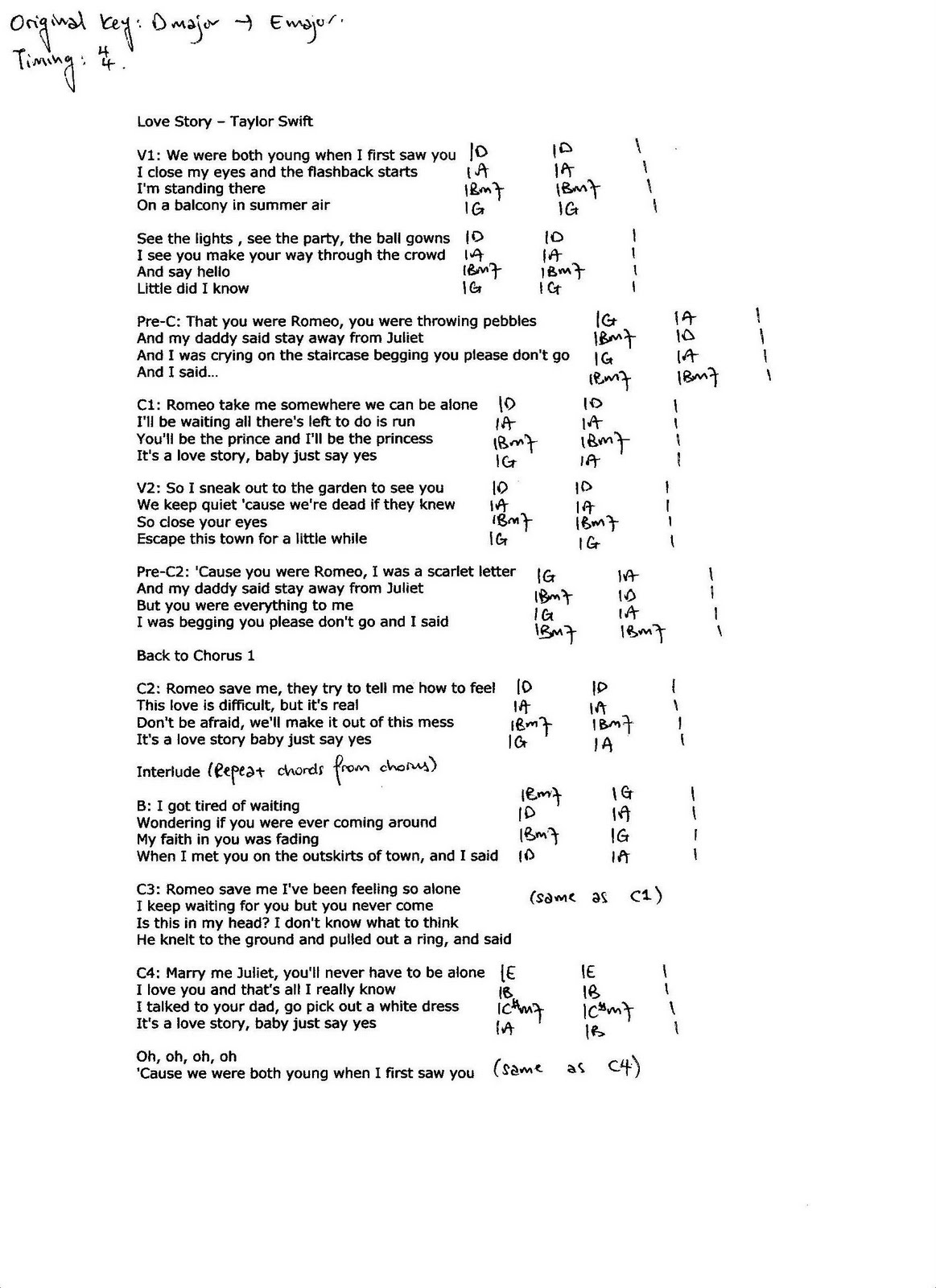 Guitar chords for lucky by jason mraz