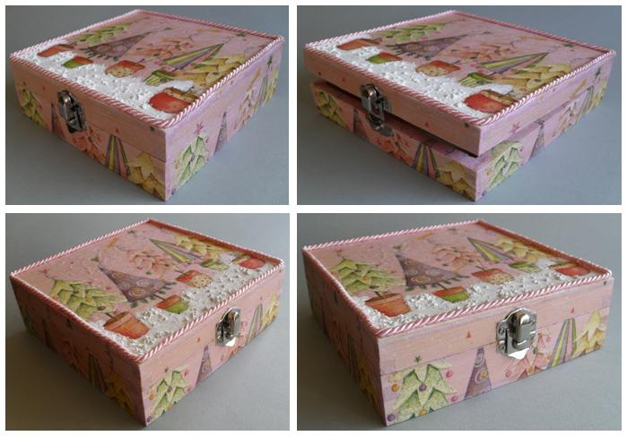 única encomenda especial caixa em madeira decorativa em decoupage