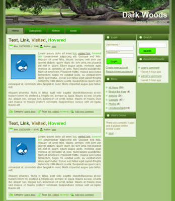 drupal themem with gradient green background