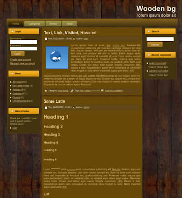 free drupal theme with wooden background