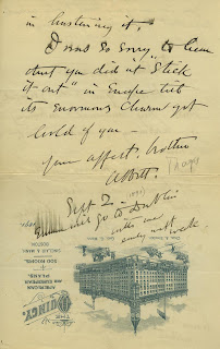 Thayer's letter to his late wife's sister, Gertrude, alerting her to his new marriage. Thomas B. Brumbaugh collection of 19th and 20th century American artists' correspondence 1831-1979.