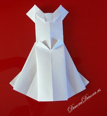 hacer un vestido de origami para decorar bodas