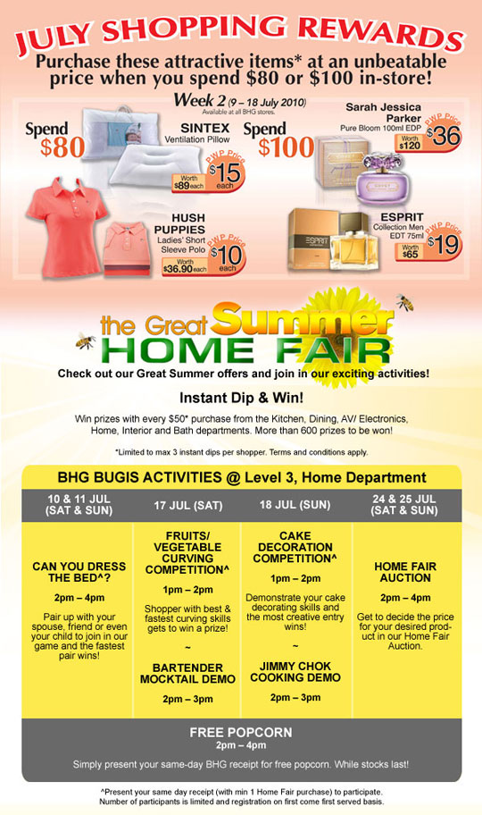 Tua lobang bhg promotions till 15 july 2010 for Bhg shopping