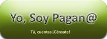 Botón pagano instando a los paganos a registrarse en el censo español