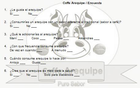 coffe arequipe formato de la encuesta
