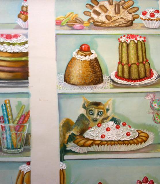 Crème en relief (hummm!) et petite créature gourmande squattant l'armoire!