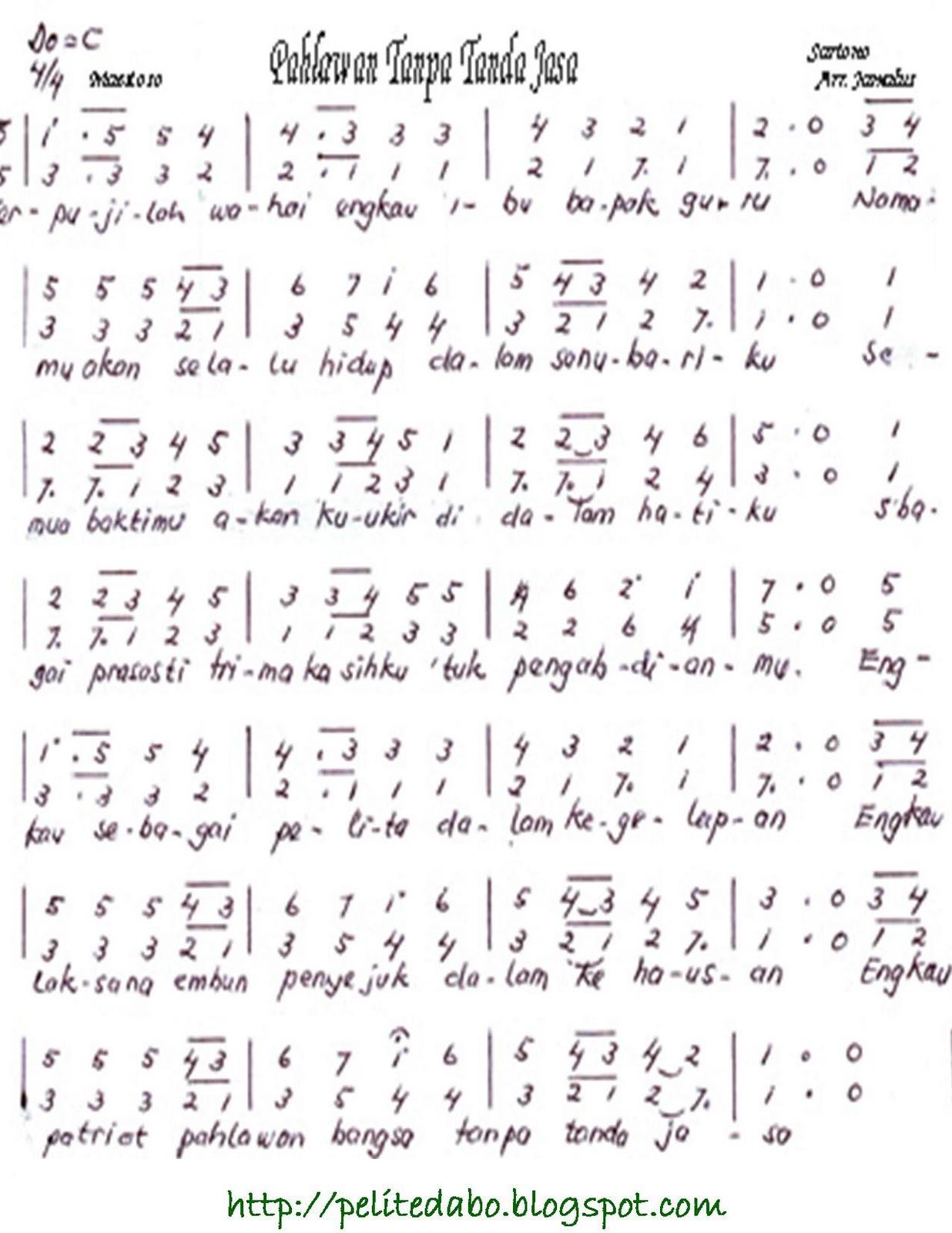Partitur Lagu Pahlawan Tanpa Tanda Jasa
