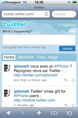 Twitter en version Mobile suivez @iphonefr sur twitter iphone 3GS