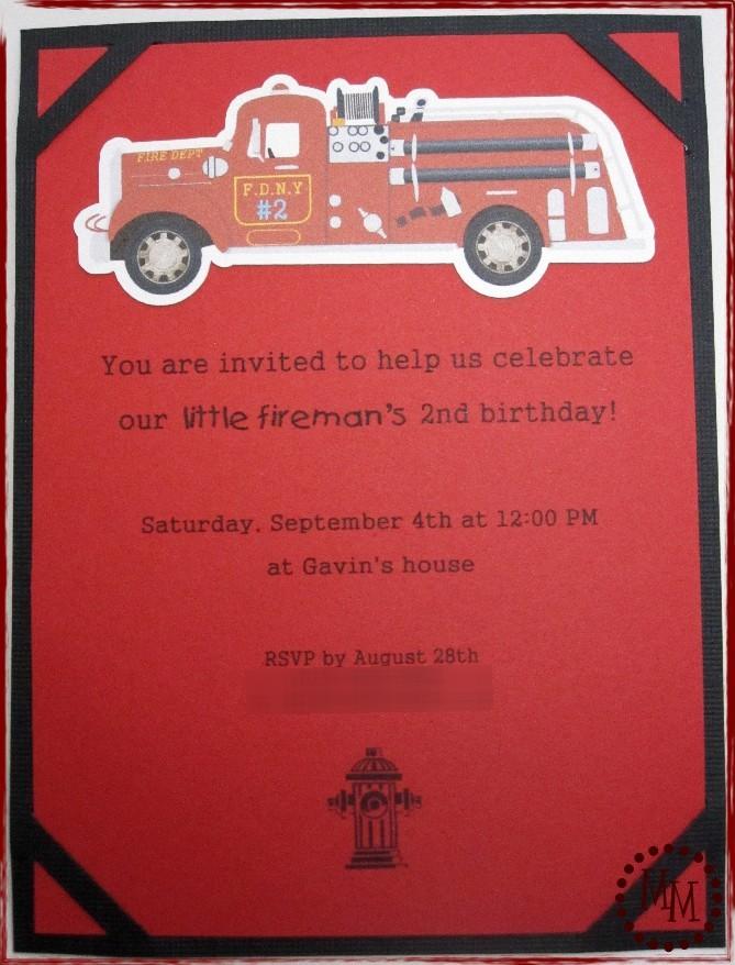 Fire Truck Party Invites - The Scrap Shoppe
