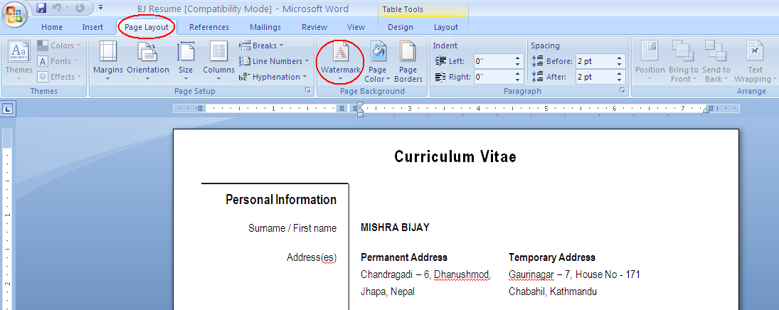 how to add watermark in word on one page