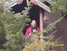 Ethan and mom in the treehouse at the pumpkin patch.