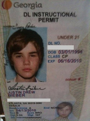 Justin Bieber Drivers License Picture
