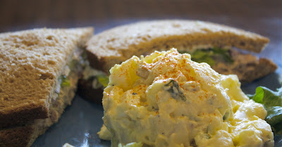 potato salad and tuna salad sandwich