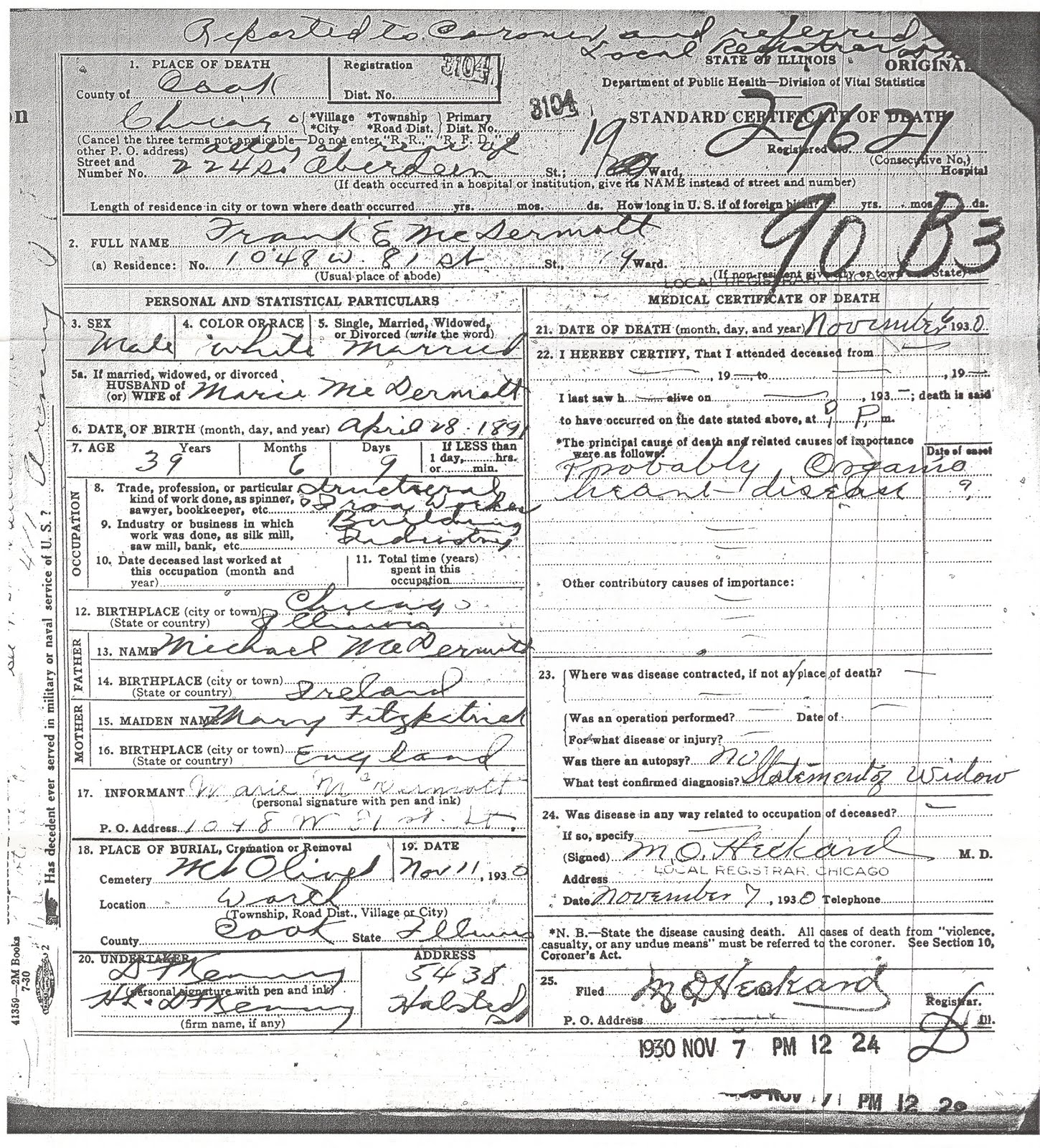 The mcdermott family line may 2010 the cook county death certificate for frank mcdermott 1betcityfo Image collections