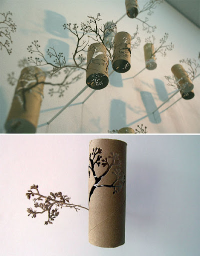 yuken teruya, green design, eco-friendly art, art from toilet paper rolls