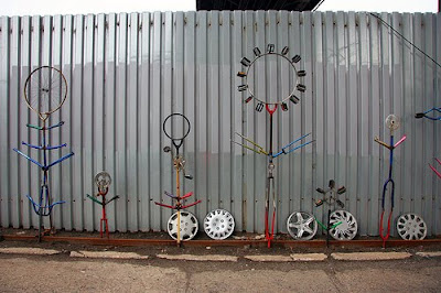 bicycle garden, garden made from bicycle parts, bicycle garden in queens new york