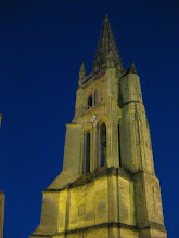 st. emilion church at night